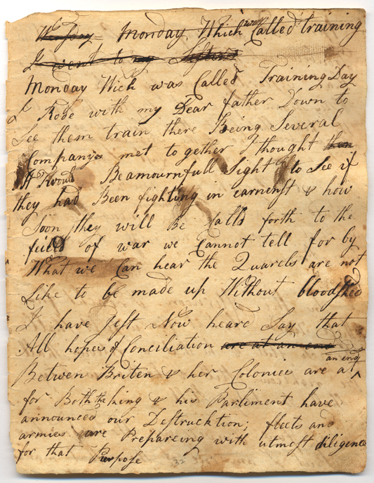 From the diary of Jemima Condict. Image courtesy of the New Jersey Historical Society, Newark, NJ